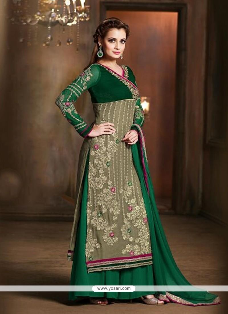 Diya Mirza Green Patch Border Work Designer Suit