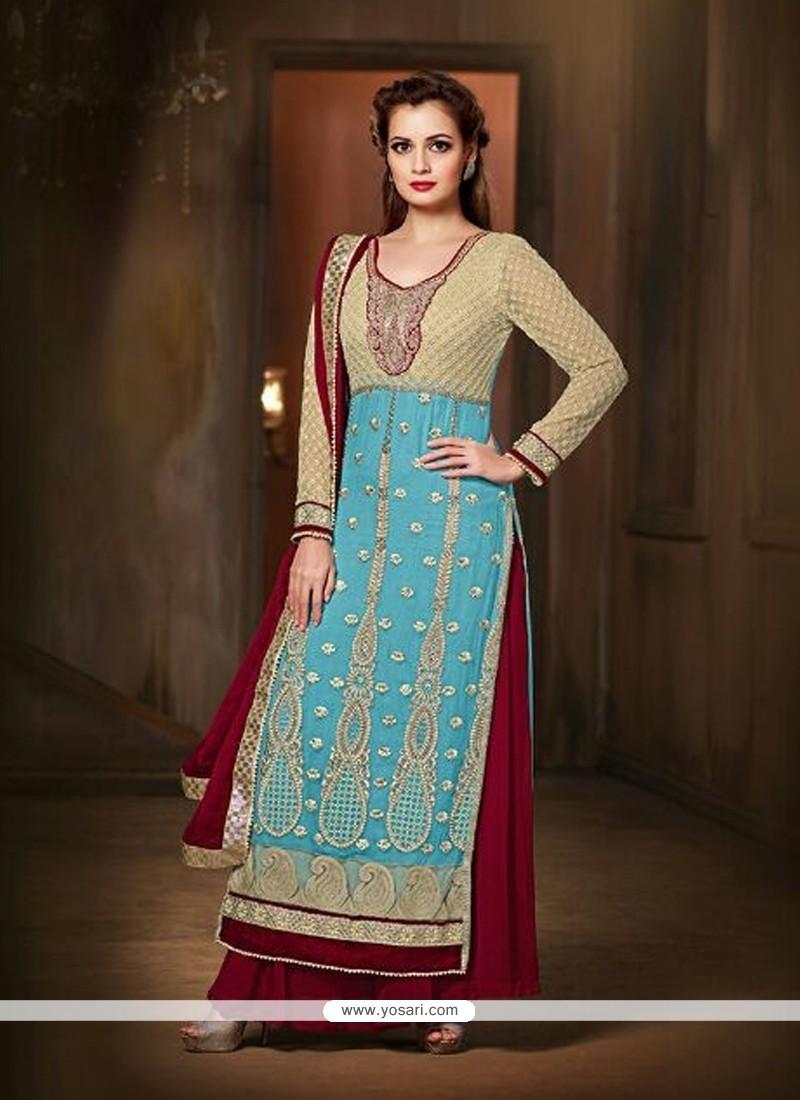 Diya Mirza Pure Chiffon Patch Border Work Blue Designer Suit