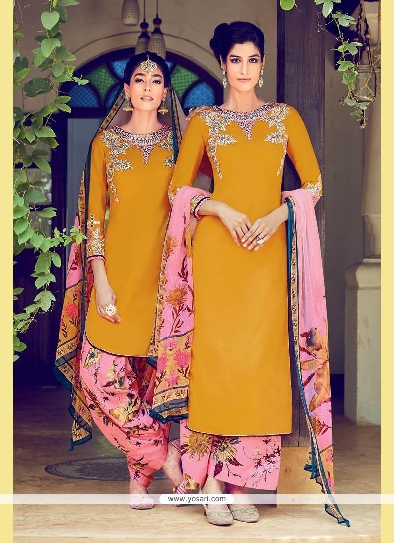 Mustard Cotton Satin Designer Suit