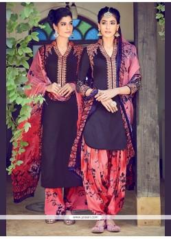 Entrancing Digital Print Work Cotton Satin Designer Suit