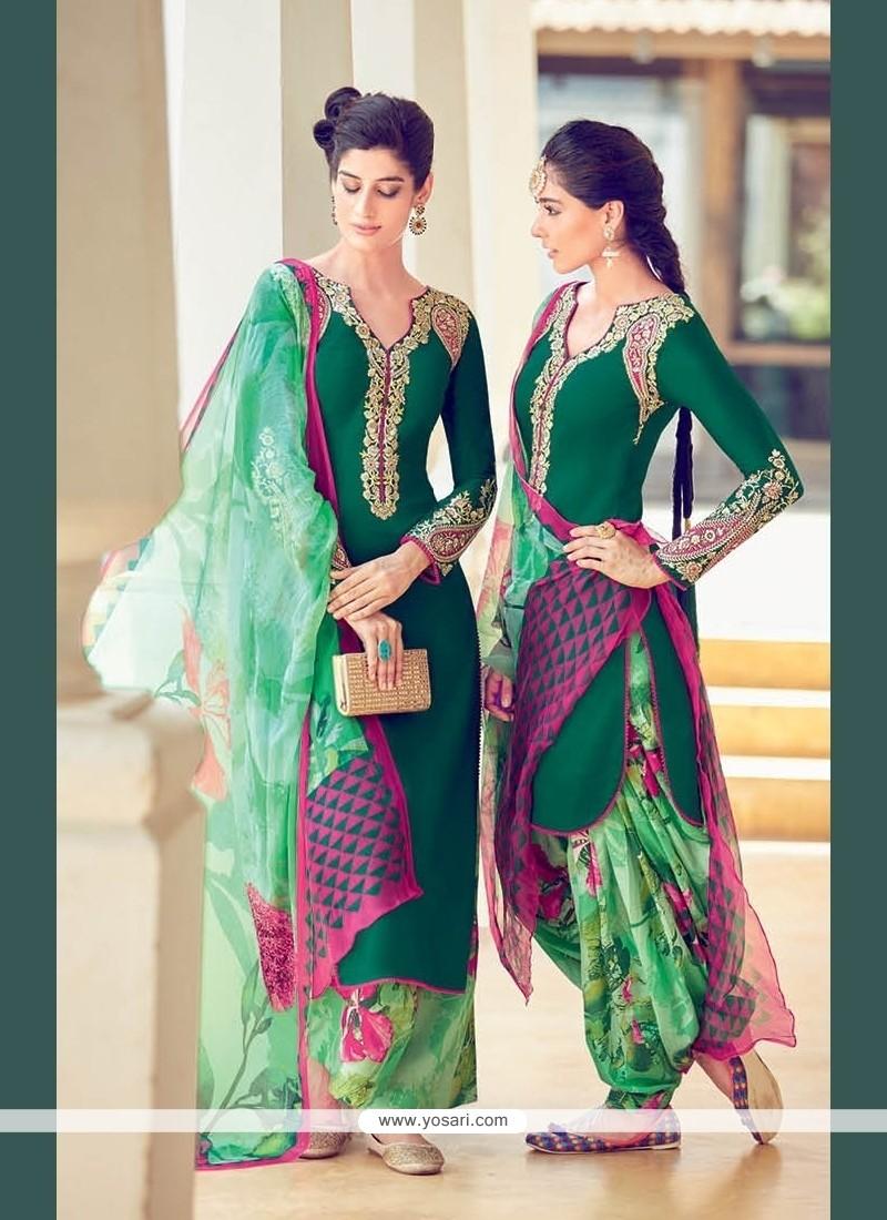 Green Cotton Satin Designer Suit