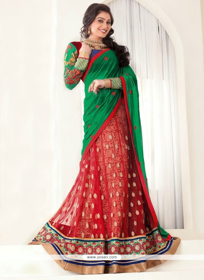 Red And Green Net Lehenga Choli