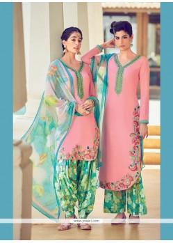 Vivid Cotton Satin Digital Print Work Designer Suit