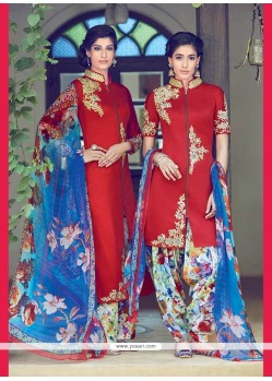 Ideal Cotton Satin Red Designer Suit