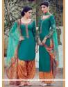 Delectable Digital Print Work Cotton Satin Designer Suit