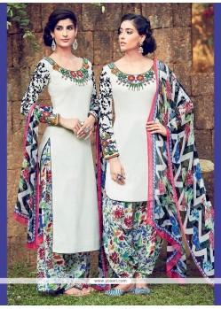 Ravishing Off White Digital Print Work Cotton Satin Designer Suit