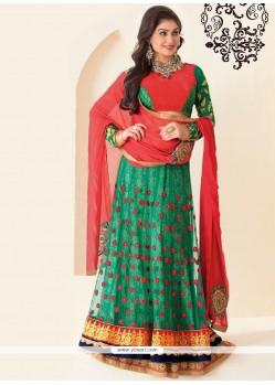 Flawless Green Resham Designer Lehenga Choli