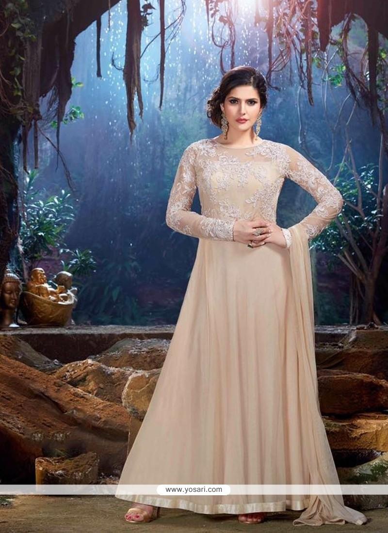 Zarine Khan Embroidered Work Cream Designer Suit