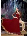 Zarine Khan Patch Border Work Maroon Designer Suit