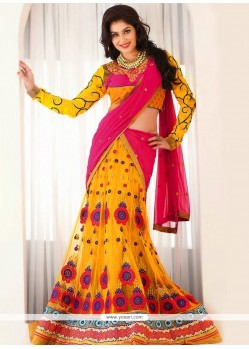 Eyeful Yellow Net Lehenga Choli