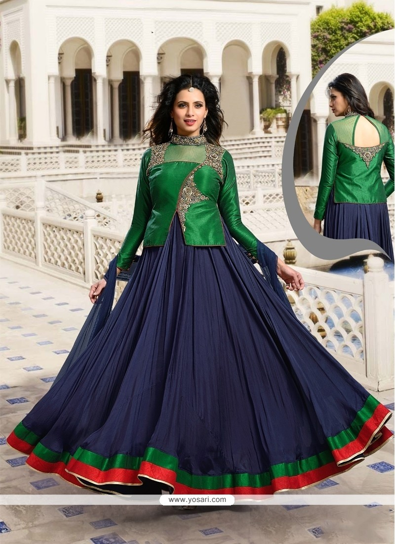 Navy Blue Raw Silk Designer Suit