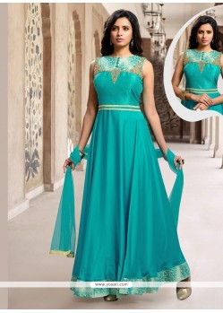 Epitome Satin Patch Border Work Designer Suit