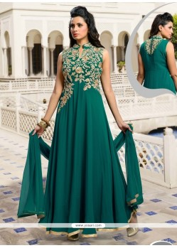 Conspicuous Satin Green Embroidered Work Designer Suit