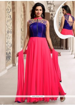 Marvelous Hot Pink Resham Work Silk Designer Suit