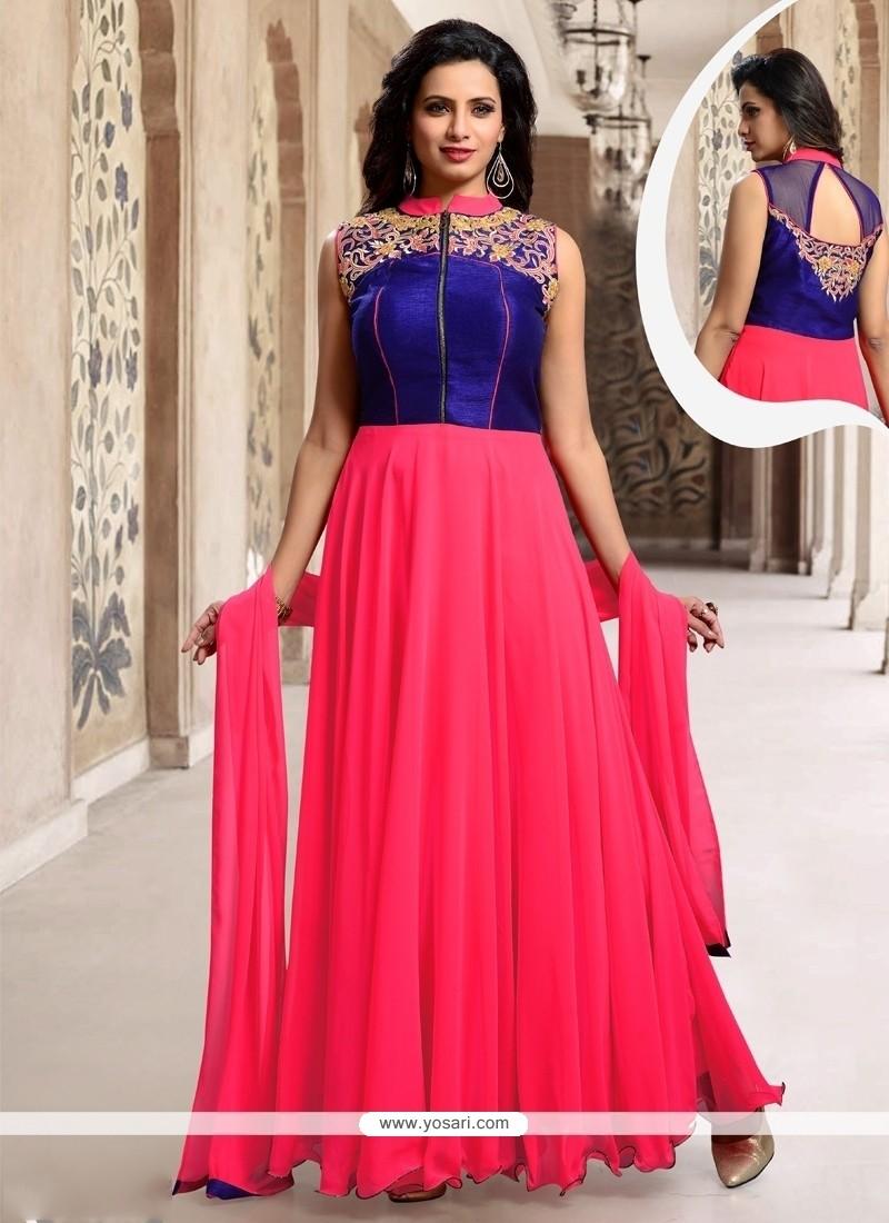 Marvelous Hot Pink Resham Work Silk Designer Suit