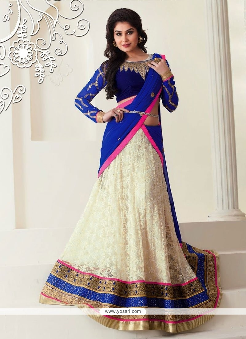 Off White Net Lehenga Choli
