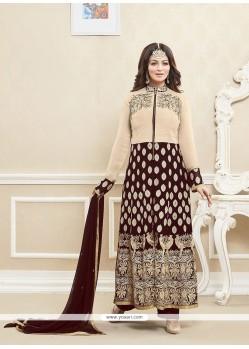 Ayesha Takia Brown Georgette Embroidered Work Designer Suit