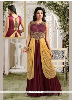 Irresistible Brown Kasab Work Anarkali Salwar Kameez