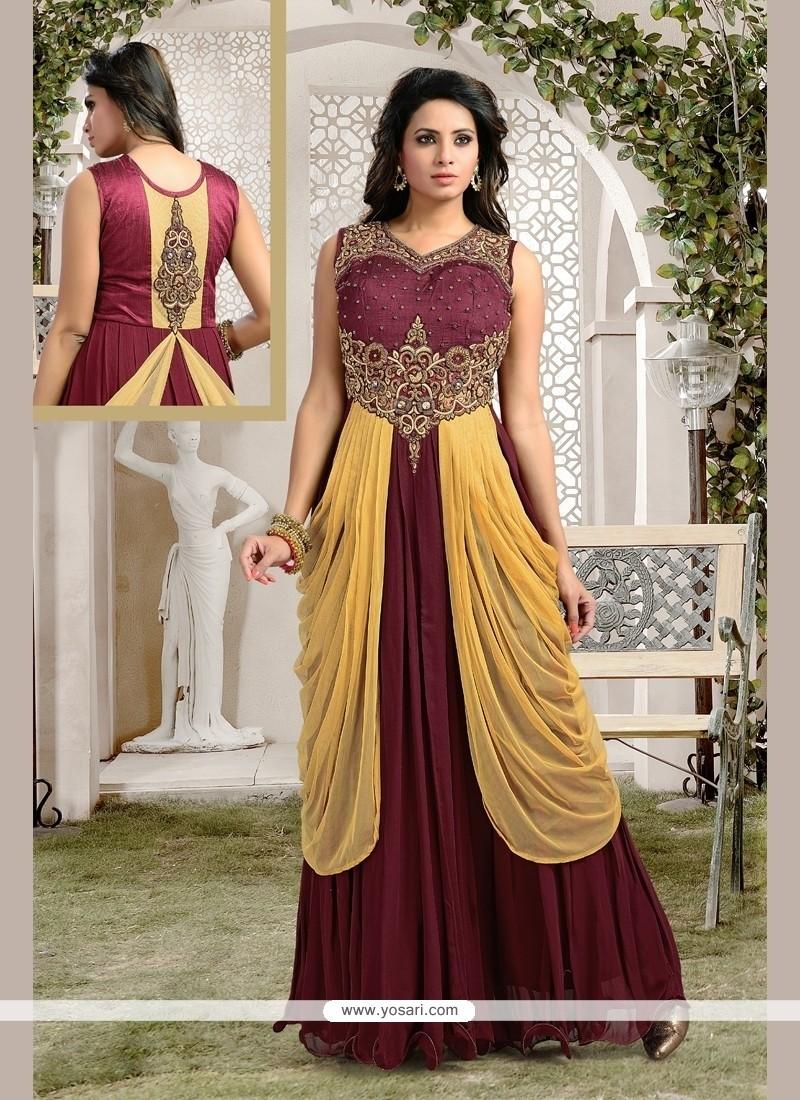 Irresistible Brown Kasab Work Anarkali Salwar Kameez