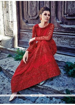 Fetching Red Embroidered Work Net Anarkali Salwar Kameez