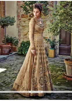 Graceful Beige Embroidered Work Net Anarkali Salwar Kameez