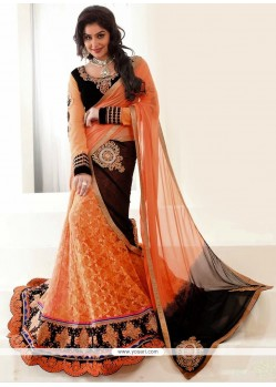Decent Orange Net Lehenga Choli
