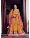 Mesmerizing Pink And Yellow Embroidered Work Anarkali Salwar Kameez