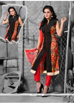 Best Red Resham Work Art Raw Silk Designer Suit