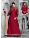 Modish Maroon Satin Designer Suit