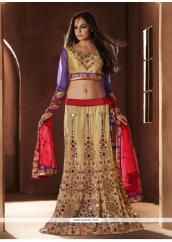 Amazing Cream Net Designer Lehenga Choli
