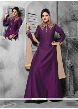 Vivid Silk Embroidered Work Designer Suit