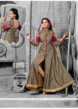 Vivacious Raw Silk Multi Colour Embroidered Work Anarkali Salwar Kameez