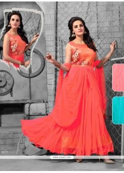 Ideal Embroidered Work Orange Net Anarkali Salwar Kameez
