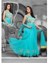 Monumental Turquoise Resham Work Anarkali Salwar Kameez