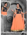 Savory Art Silk Orange Patch Border Work Anarkali Salwar Kameez