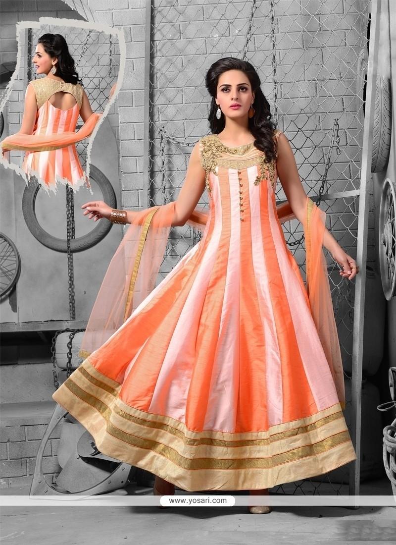 Masterly Orange And Pink Art Silk Anarkali Salwar Kameez