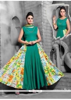 Attractive Sea Green Embroidered Work Art Silk Anarkali Salwar Kameez