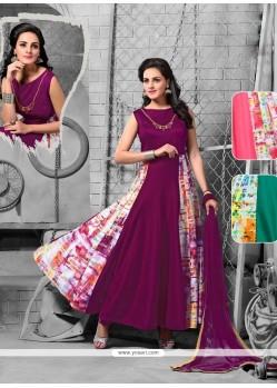 Modern Print Work Purple Net Anarkali Salwar Kameez