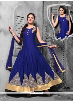 Opulent Embroidered Work Blue Net Anarkali Salwar Kameez