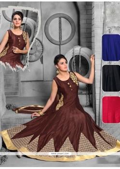 Mystic Embroidered Work Net Brown Anarkali Salwar Kameez