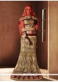 Opulent Beige Net Designer Lehenga Choli