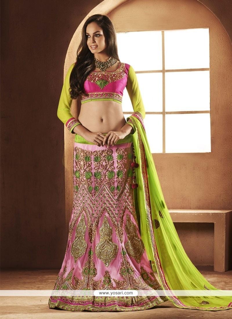 Pink Resham Net Lehenga Choli