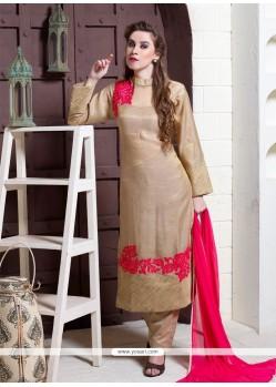 Fab Silk Beige Designer Suit