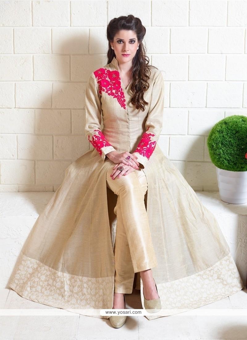 Flawless Beige Silk Designer Suit