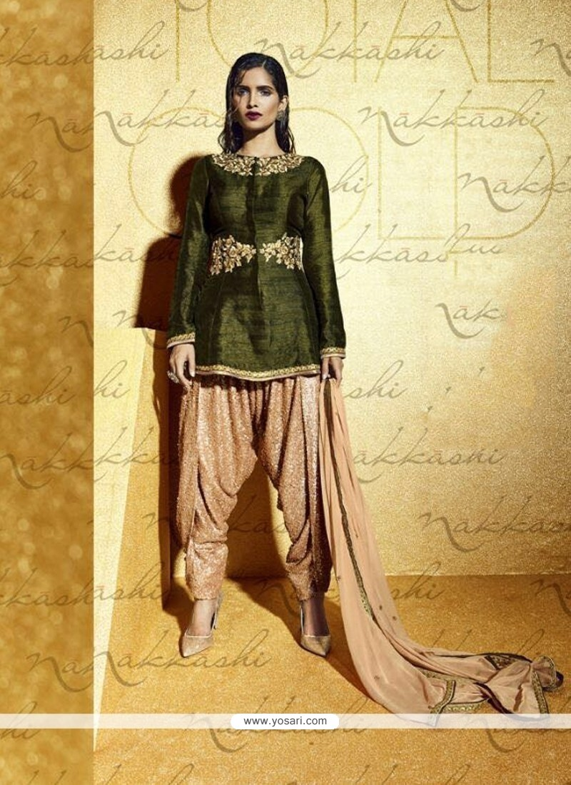 Green Bhagalpuri Silk Designer Suit