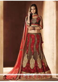 Brown Net Stone Work Lehenga Choli