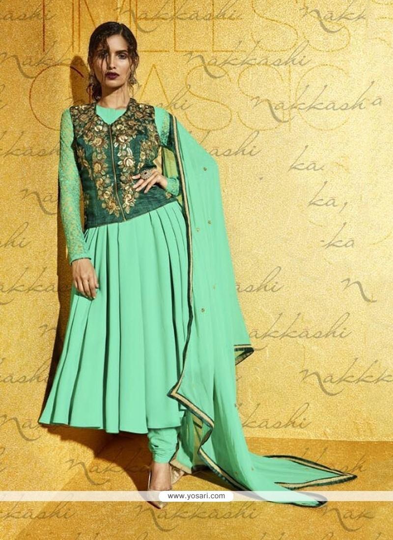 Graceful Georgette Resham Work Anarkali Salwar Kameez