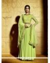 Titillating Green Anarkali Salwar Kameez