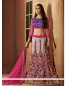 Pink And Grey Net A-Line Lehenga Choli