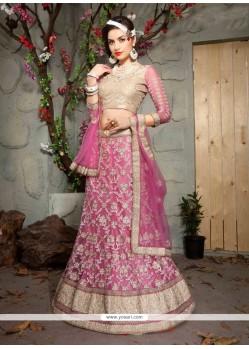 Marvelous Pink Patch Border Work Net A Line Lehenga Choli